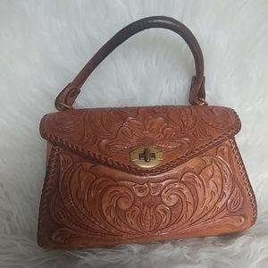 Vintage 50's tooled leather handbag purse